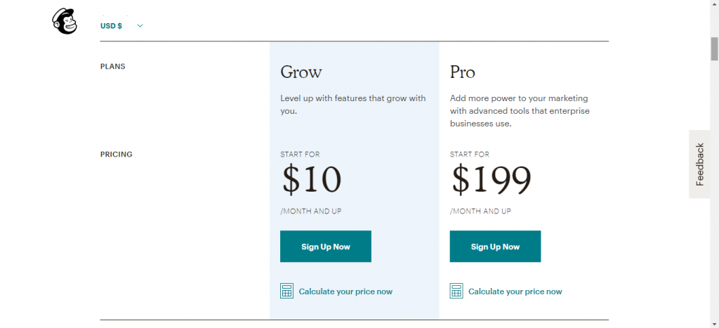 Mailchimp pricing plan